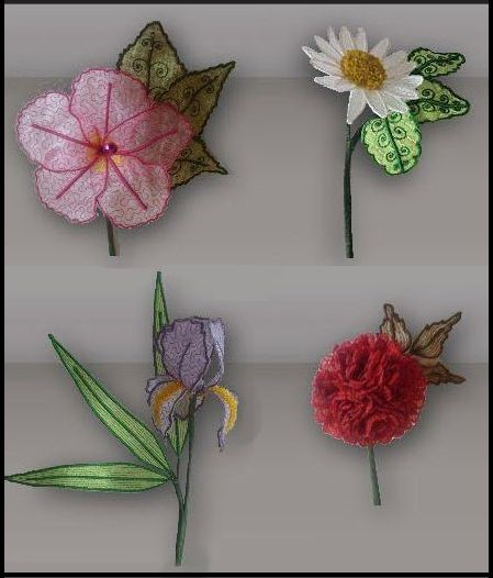 Beautiful d flowers embroidery collections machine