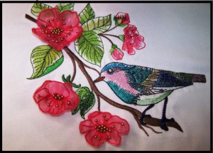 Water Color Bird with 3D Blossoms