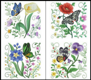 5 Fun Flowers and Butterflies Machine Embroidery Designs