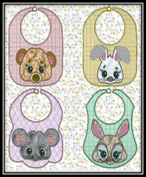 Applique Critter Bibs Large and Small Embroidery