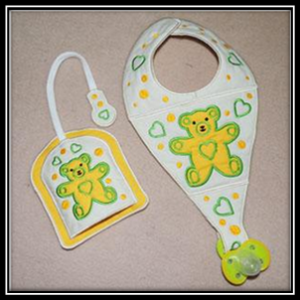 Bear Bib And Holder Machine Embroidery