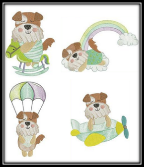 Puppy Fun Embroidery Patterns