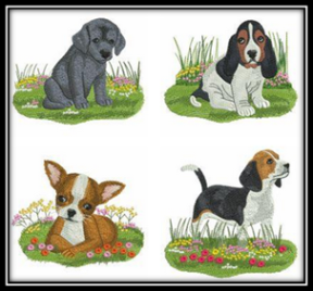 Spring Puppy Machine Embroidery Designs
