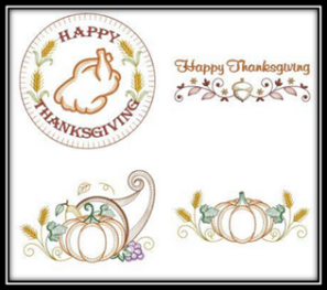 Happy Thanksgiving Embroidery Designs