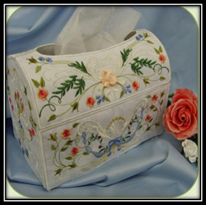 Heirloom Rose Tissue Box Embroidery Cover