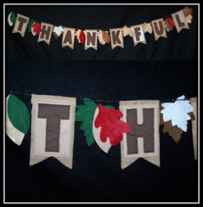 Thankful Bunting Embroidery Designs