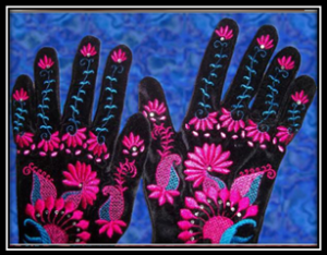 Velvet Party Gloves Embroidery Project