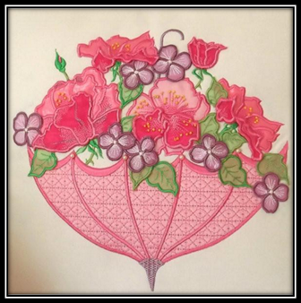 3D Roses And Umbrella Machine Embroidery Designs and Patterns