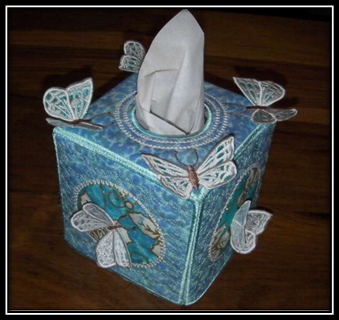 ITH Butterfly Dreams Sq Tissue Box Cover Machine Embroidery